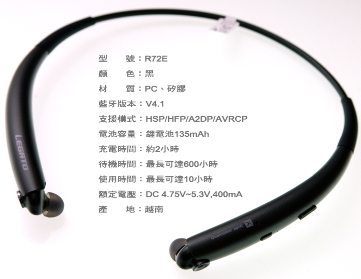 運動時的好夥伴~推薦《韓國 SPIGEN Legato Arc R72E 頸掛式無線藍牙運動耳機》