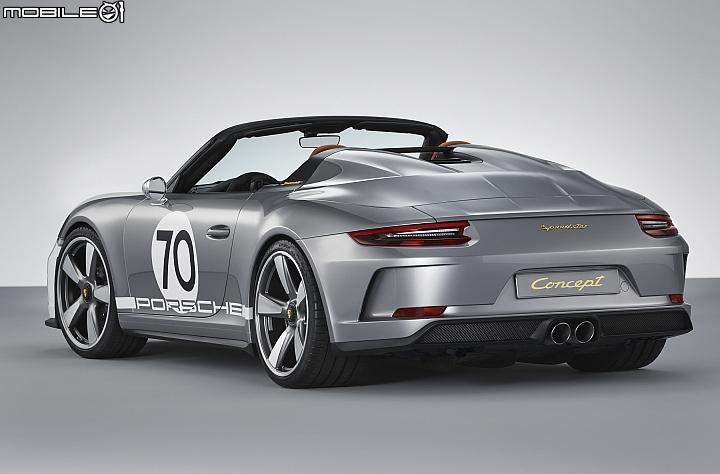 Porsche 911 Speedster Concept 後方搭配的為具備八個快拆固定器的輕量化敞篷