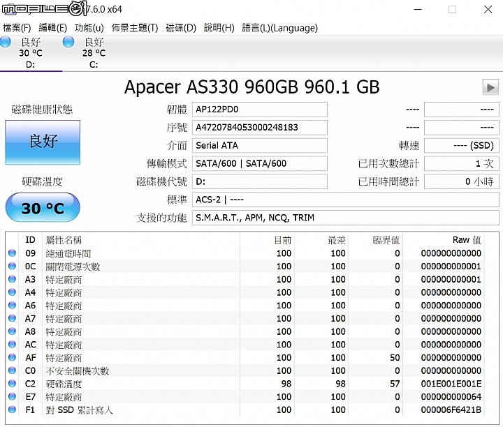 Apacer PANTHER AS330 SSD 960GB硬碟的CrystalDiskInfo軟體資訊圖。